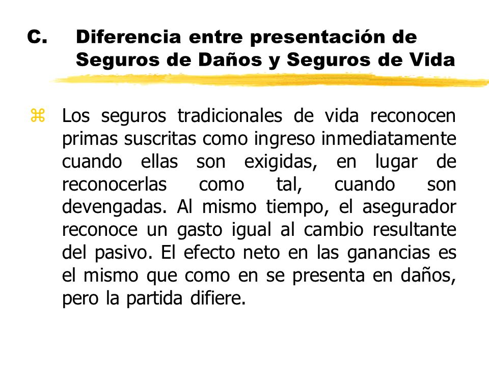C. Diferencia entre presentación de Seguros de Daños y Seguros de Vida