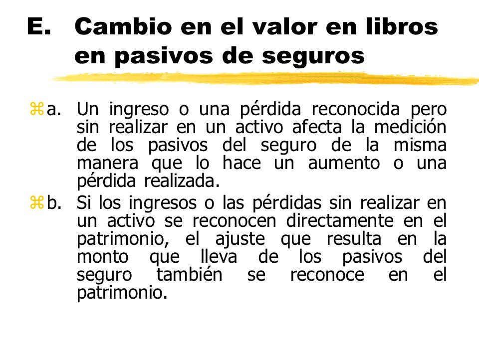 E. Cambio en el valor en libros en pasivos de seguros