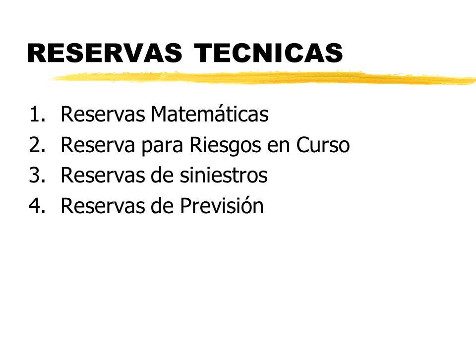 RESERVAS TECNICAS 1. Reservas Matemáticas
