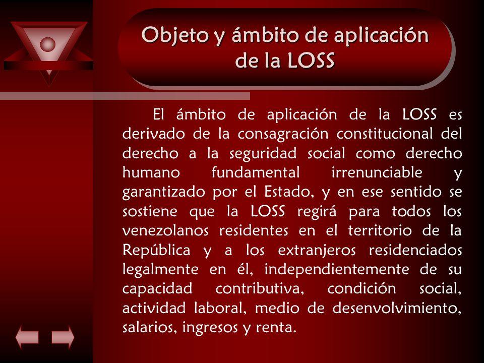 Objeto y ámbito de aplicación de la LOSS