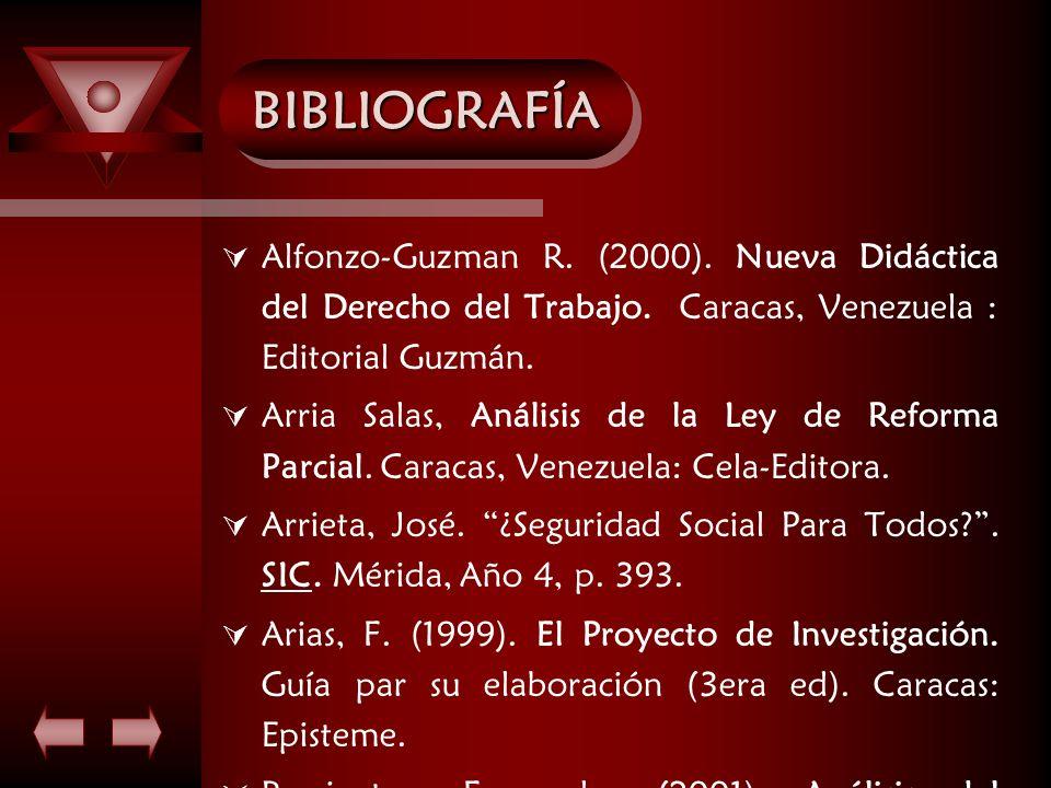 BIBLIOGRAFÍA Alfonzo-Guzman R. (2000). Nueva Didáctica del Derecho del Trabajo. Caracas, Venezuela : Editorial Guzmán.