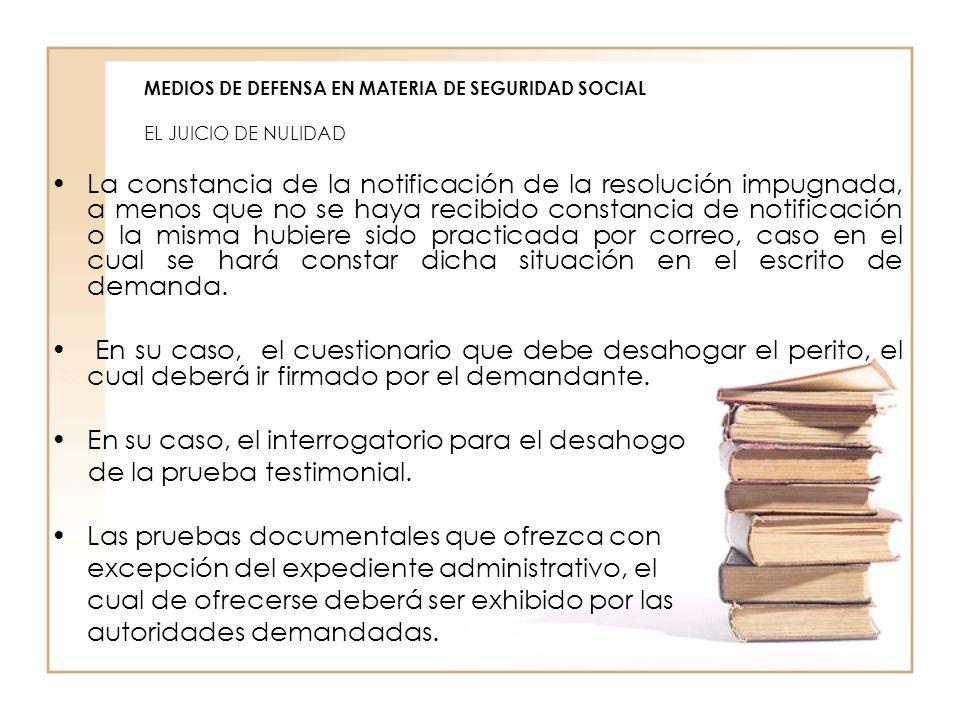 MEDIOS DE DEFENSA EN MATERIA DE SEGURIDAD SOCIAL EL JUICIO DE NULIDAD