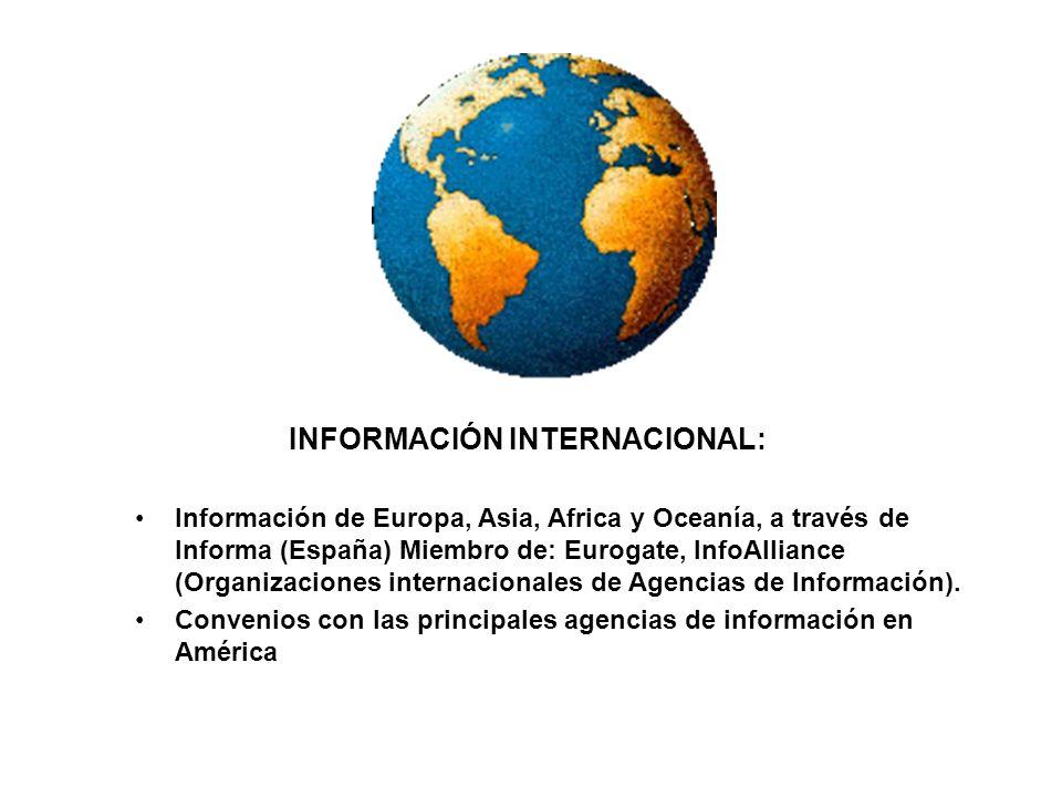 INFORMACIÓN INTERNACIONAL: