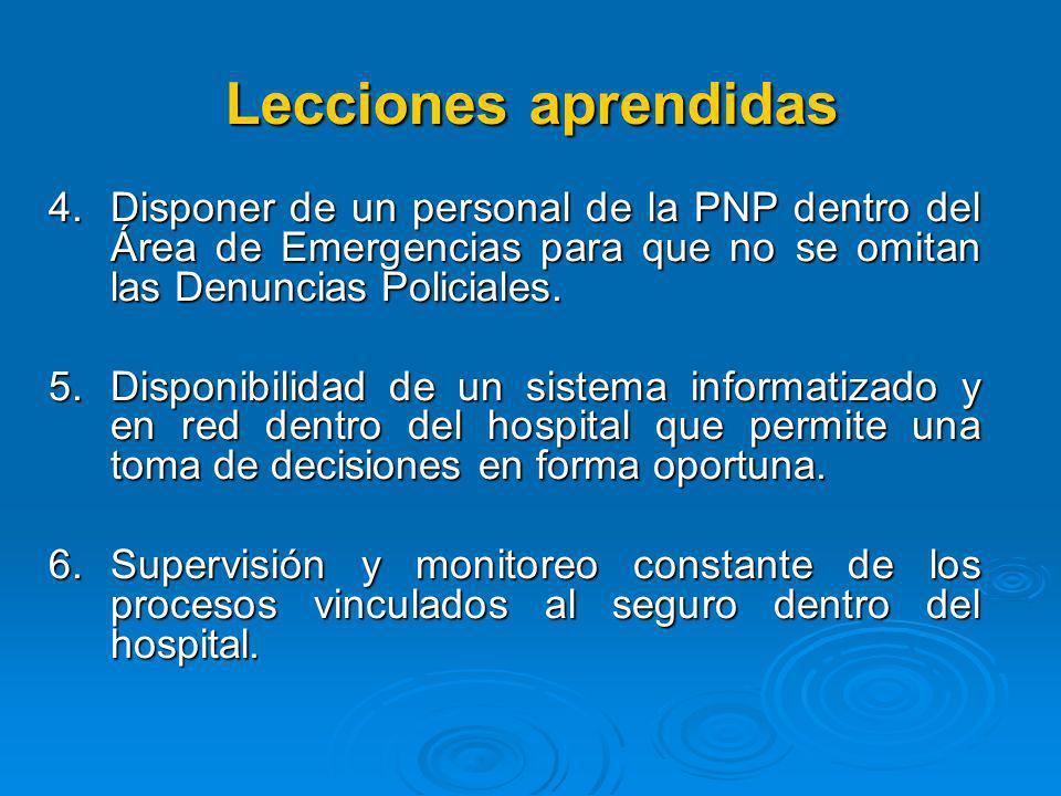 Lecciones aprendidas Disponer de un personal de la PNP dentro del Área de Emergencias para que no se omitan las Denuncias Policiales.
