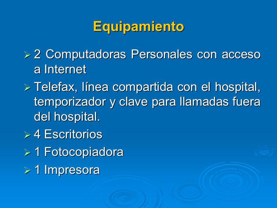 Equipamiento 2 Computadoras Personales con acceso a Internet