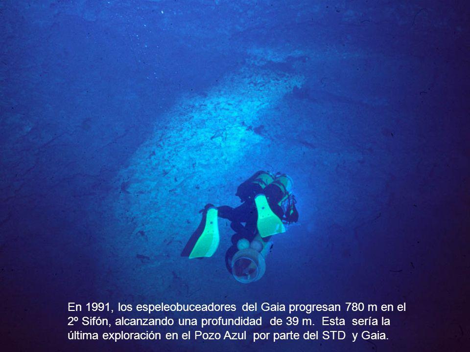 En 1991, los espeleobuceadores del Gaia progresan 780 m en el 2º Sifón, alcanzando una profundidad de 39 m.