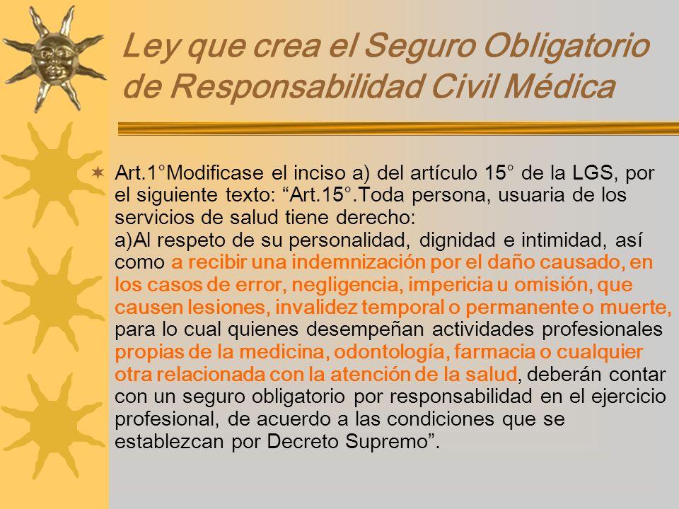 Ley que crea el Seguro Obligatorio de Responsabilidad Civil Médica