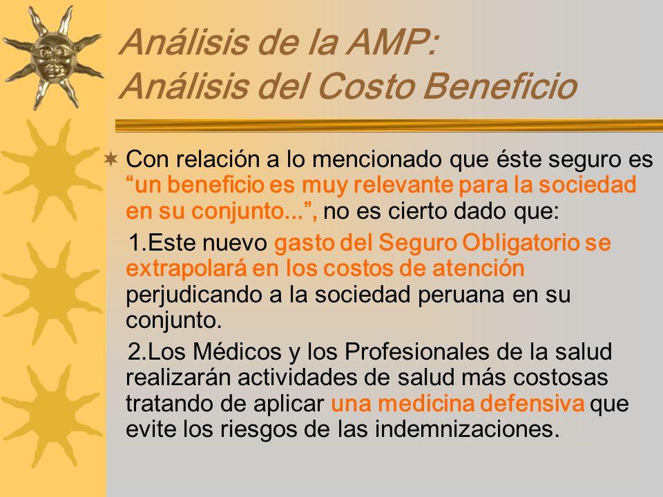 Análisis de la AMP: Análisis del Costo Beneficio