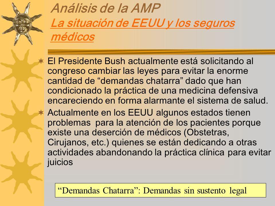 Análisis de la AMP La situación de EEUU y los seguros médicos