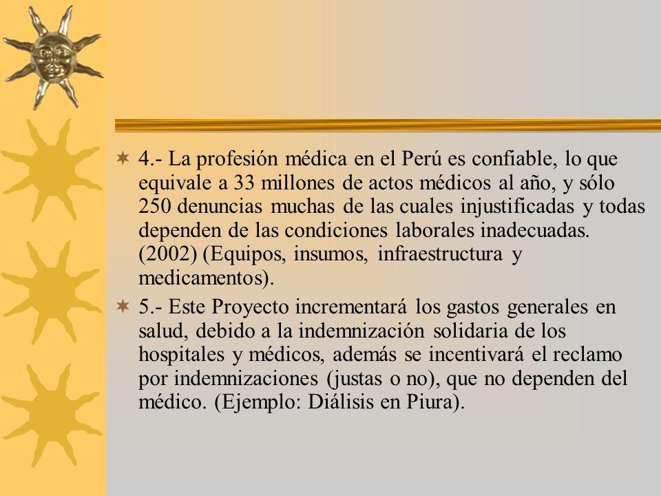 4.- La profesión médica en el Perú es confiable, lo que equivale a 33 millones de actos médicos al año, y sólo 250 denuncias muchas de las cuales injustificadas y todas dependen de las condiciones laborales inadecuadas. (2002) (Equipos, insumos, infraestructura y medicamentos).