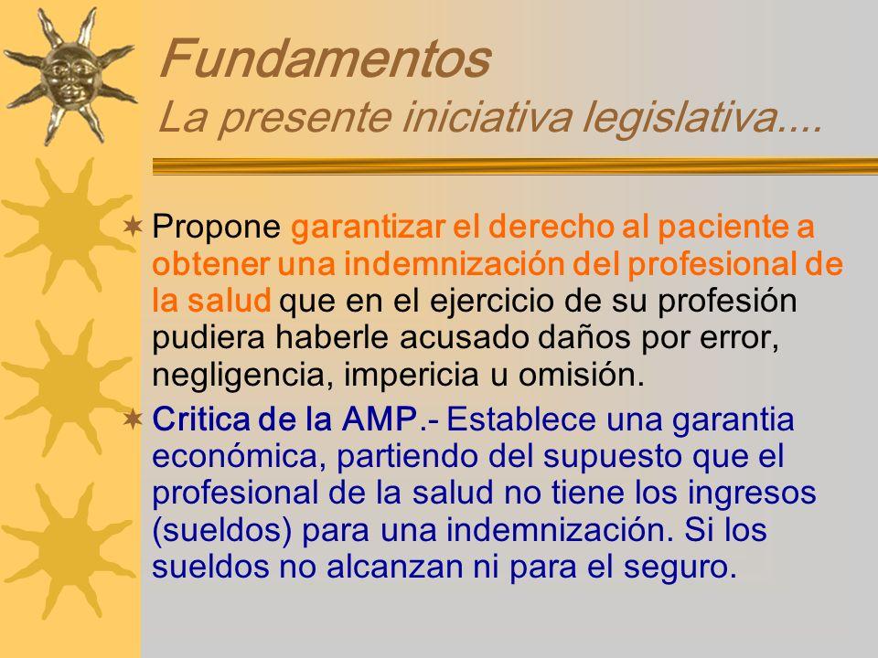 Fundamentos La presente iniciativa legislativa....