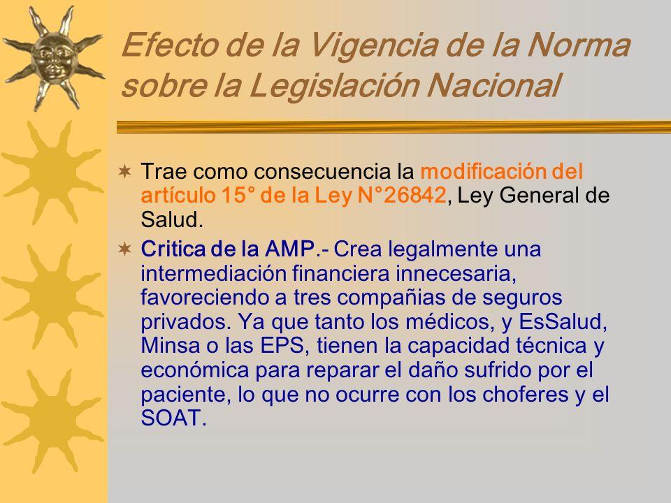 Efecto de la Vigencia de la Norma sobre la Legislación Nacional