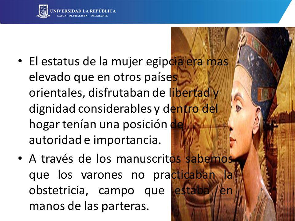 El estatus de la mujer egipcia era mas elevado que en otros países orientales, disfrutaban de libertad y dignidad considerables y dentro del hogar tenían una posición de autoridad e importancia.