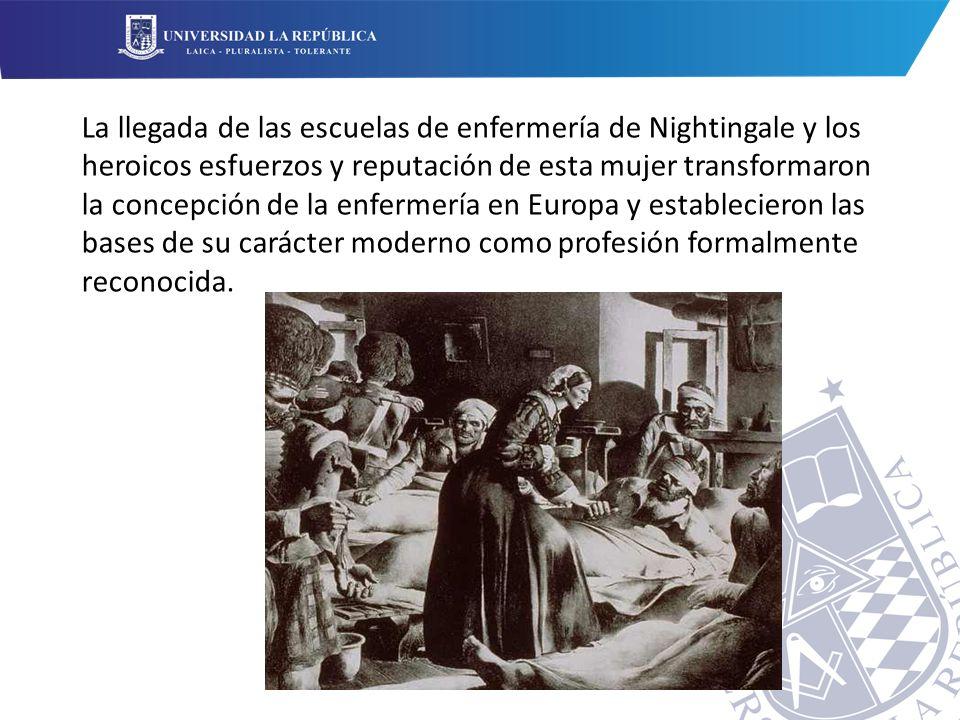 La llegada de las escuelas de enfermería de Nightingale y los heroicos esfuerzos y reputación de esta mujer transformaron la concepción de la enfermería en Europa y establecieron las bases de su carácter moderno como profesión formalmente reconocida.