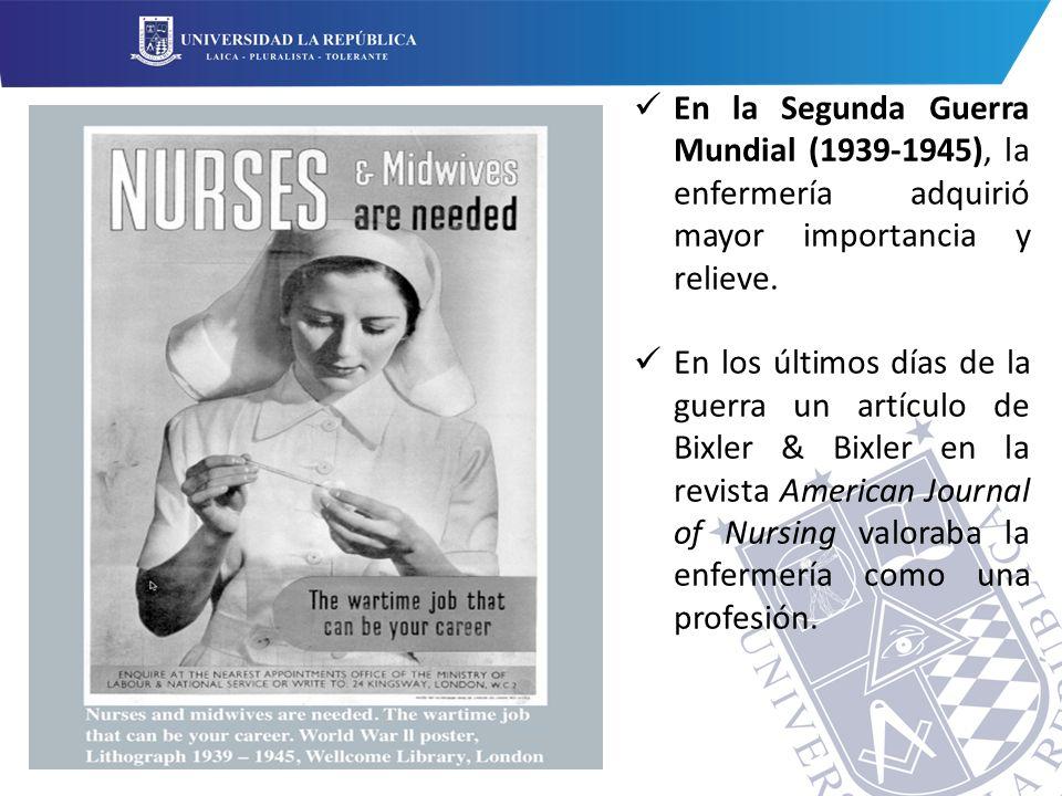 En la Segunda Guerra Mundial (1939-1945), la enfermería adquirió mayor importancia y relieve.