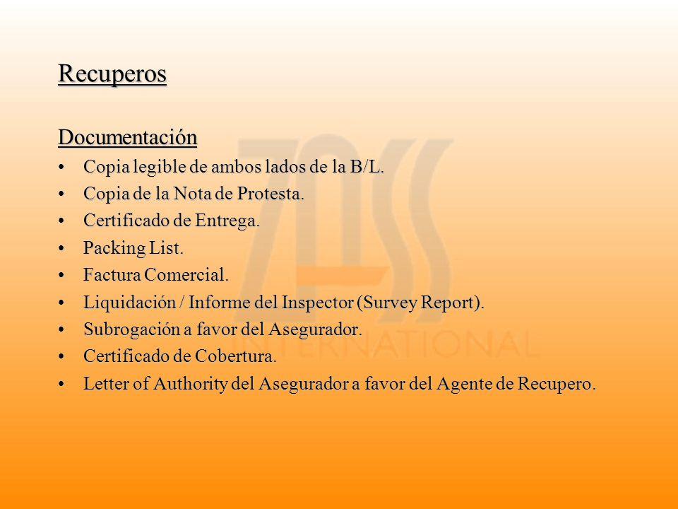 Recuperos Documentación Copia legible de ambos lados de la B/L.