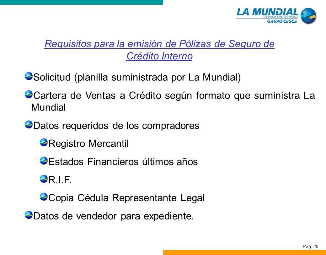 Requisitos para la emisión de Pólizas de Seguro de Crédito Interno
