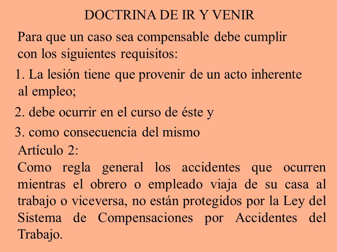 DOCTRINA DE IR Y VENIR Para que un caso sea compensable debe cumplir. con los siguientes requisitos:
