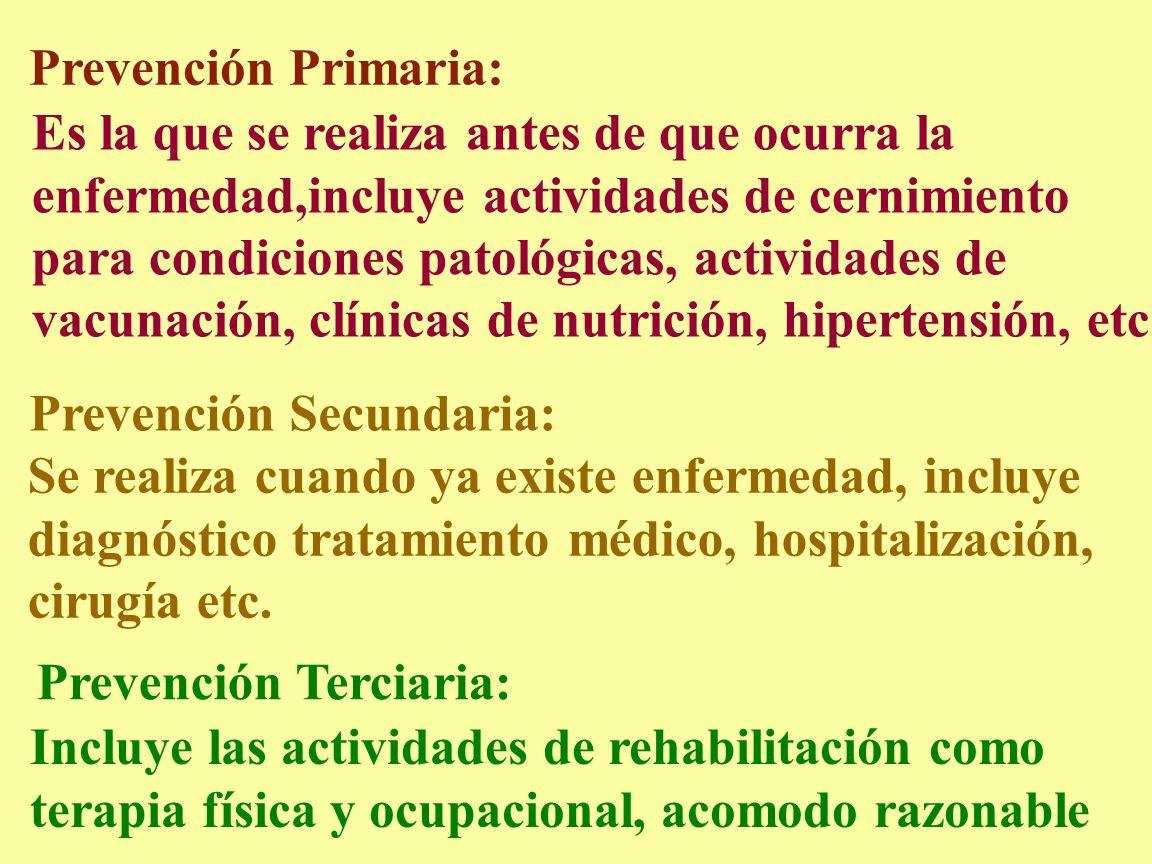 Prevención Primaria: Es la que se realiza antes de que ocurra la. enfermedad,incluye actividades de cernimiento.