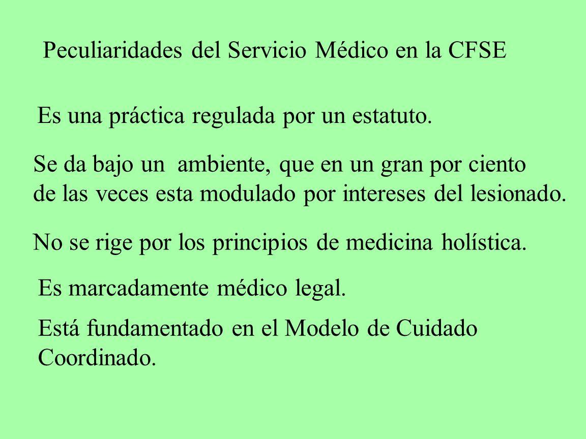 Peculiaridades del Servicio Médico en la CFSE