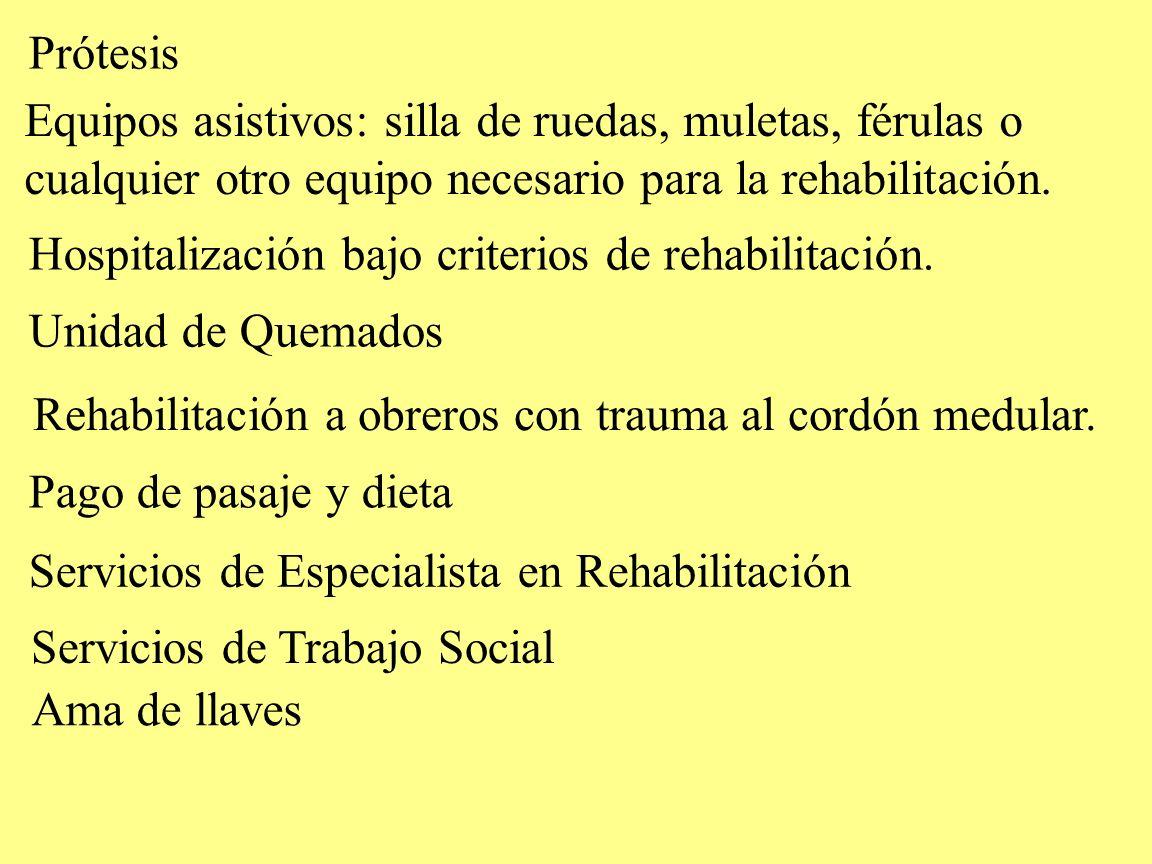 PrótesisEquipos asistivos: silla de ruedas, muletas, férulas o. cualquier otro equipo necesario para la rehabilitación.