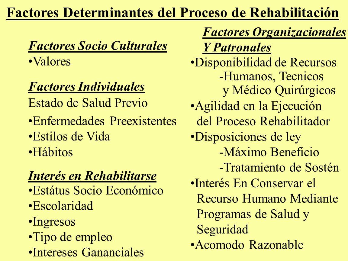 Factores Determinantes del Proceso de Rehabilitación