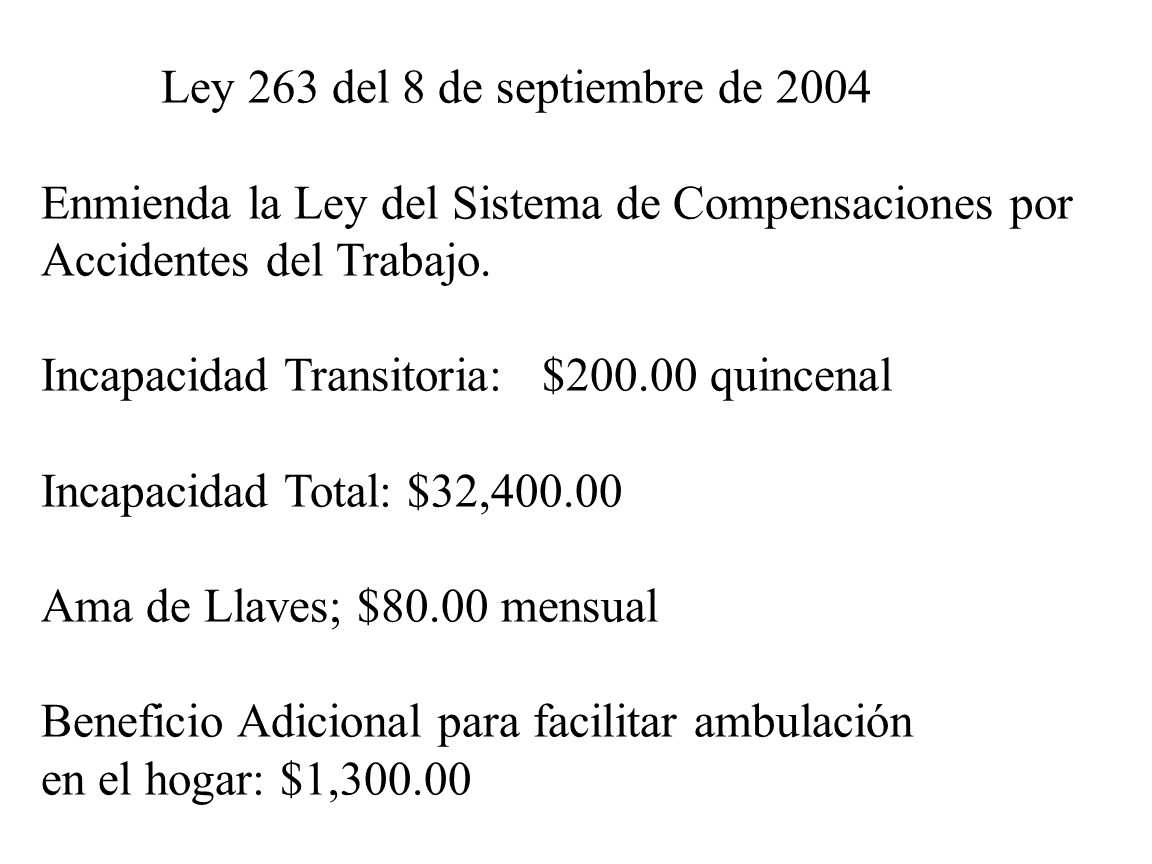 Ley 263 del 8 de septiembre de 2004