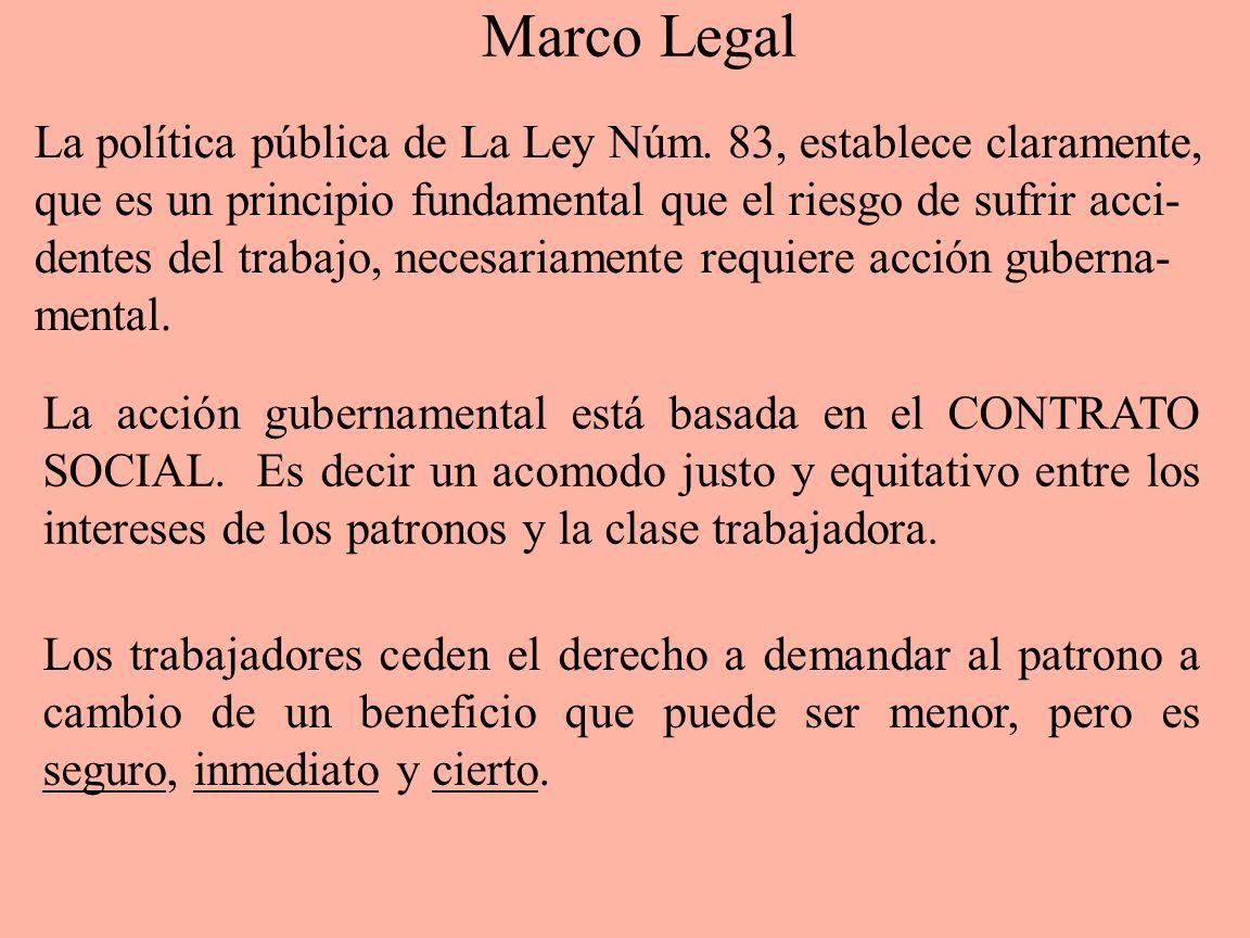 Marco Legal La política pública de La Ley Núm. 83, establece claramente, que es un principio fundamental que el riesgo de sufrir acci-