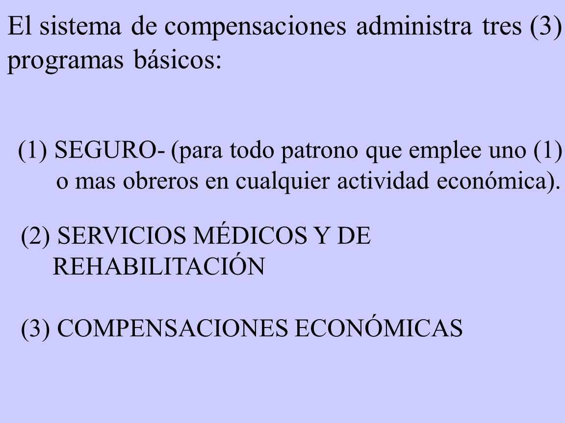 El sistema de compensaciones administra tres (3) programas básicos:
