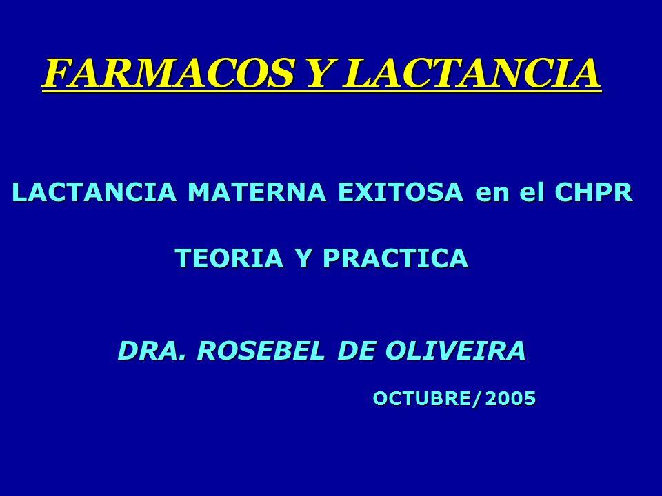 FARMACOS Y LACTANCIA LACTANCIA MATERNA EXITOSA en el CHPR TEORIA Y PRACTICA DRA.