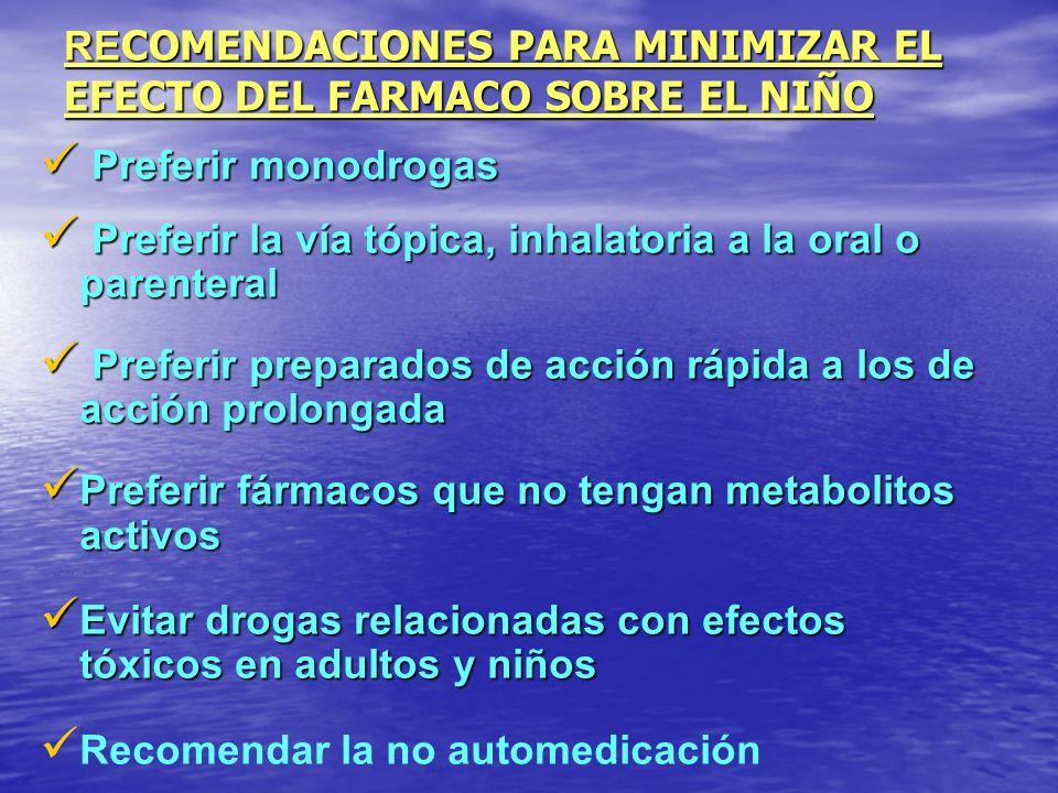 RECOMENDACIONES PARA MINIMIZAR EL EFECTO DEL FARMACO SOBRE EL NIÑO