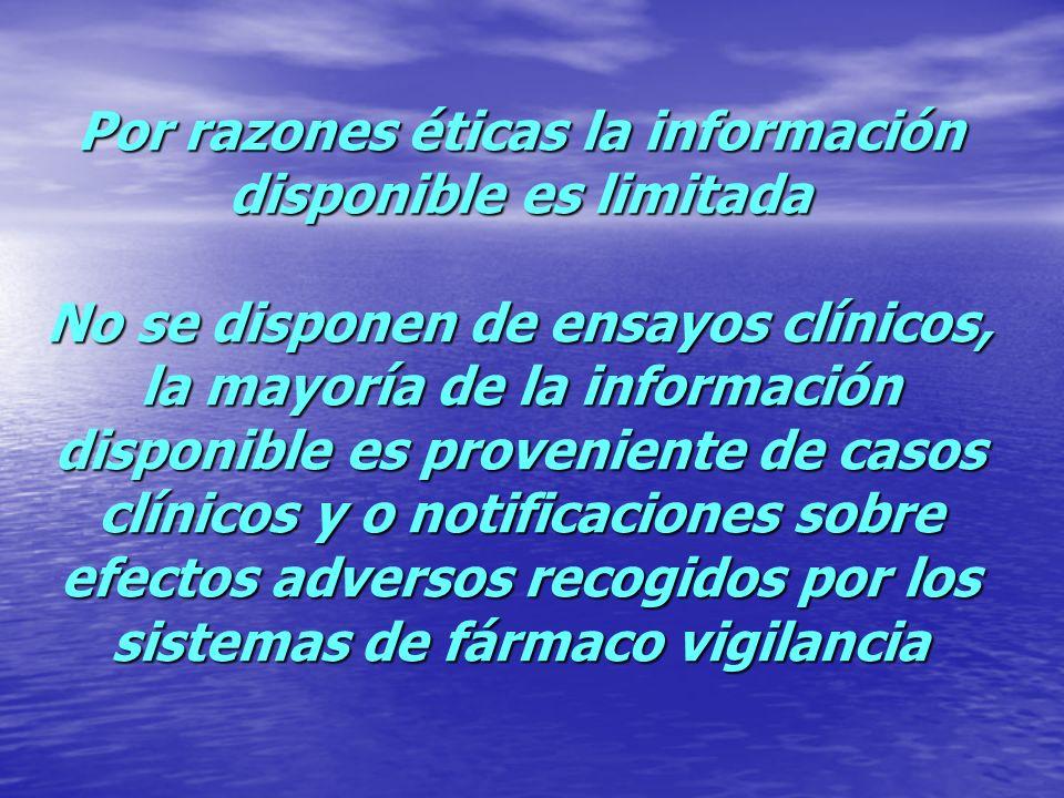 Por razones éticas la información disponible es limitada No se disponen de ensayos clínicos, la mayoría de la información disponible es proveniente de casos clínicos y o notificaciones sobre efectos adversos recogidos por los sistemas de fármaco vigilancia