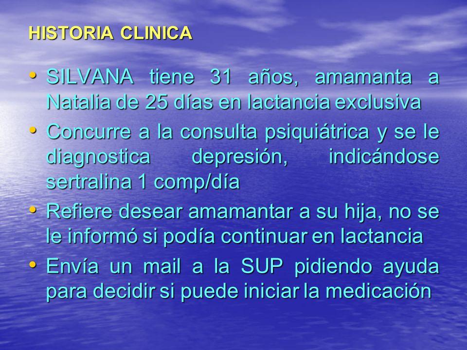 HISTORIA CLINICA SILVANA tiene 31 años, amamanta a Natalia de 25 días en lactancia exclusiva.