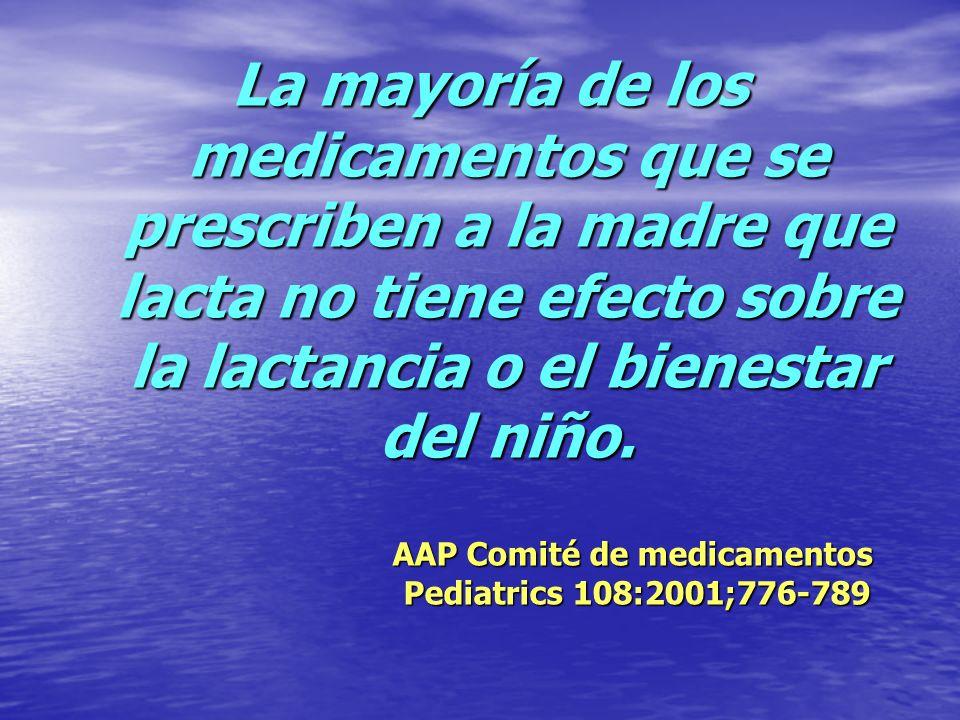 La mayoría de los medicamentos que se prescriben a la madre que lacta no tiene efecto sobre la lactancia o el bienestar del niño.