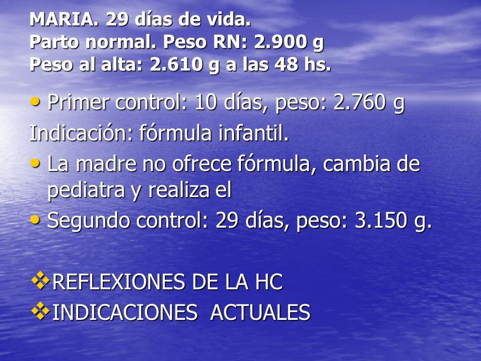 Primer control: 10 días, peso: 2.760 g Indicación: fórmula infantil.
