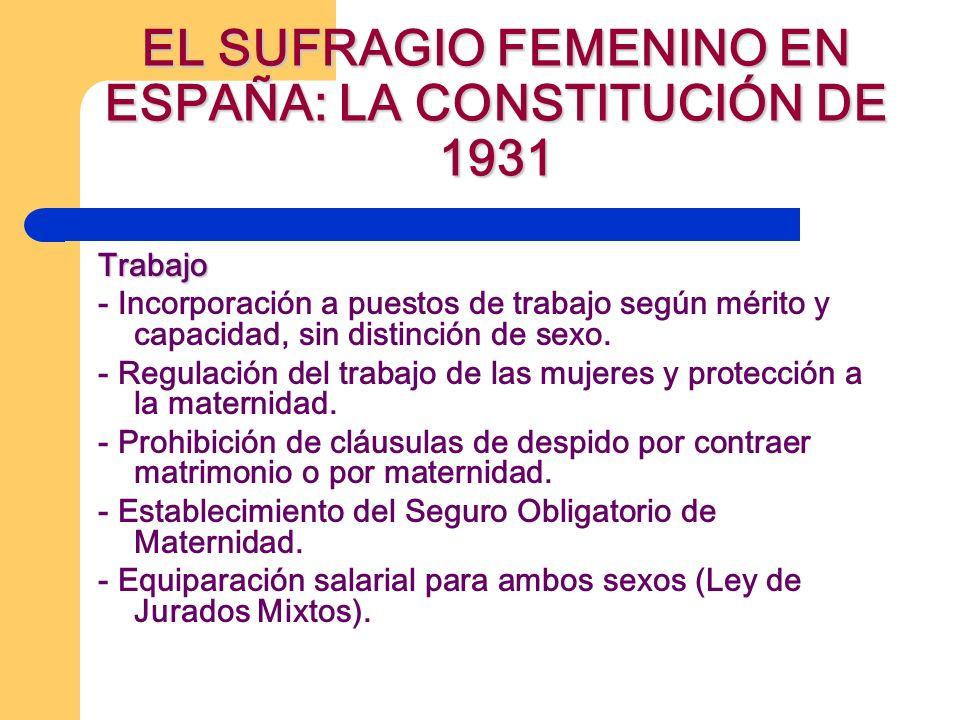 EL SUFRAGIO FEMENINO EN ESPAÑA: LA CONSTITUCIÓN DE 1931