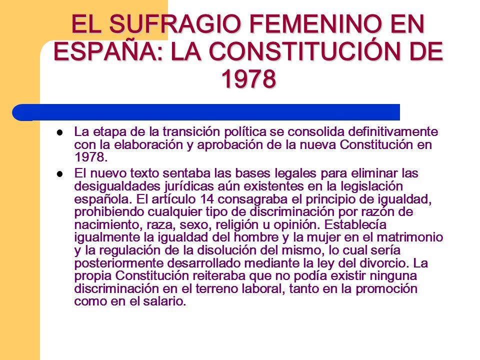 EL SUFRAGIO FEMENINO EN ESPAÑA: LA CONSTITUCIÓN DE 1978