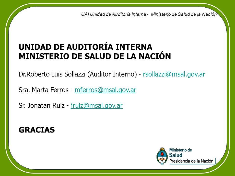 UNIDAD DE AUDITORÍA INTERNA MINISTERIO DE SALUD DE LA NACIÓN
