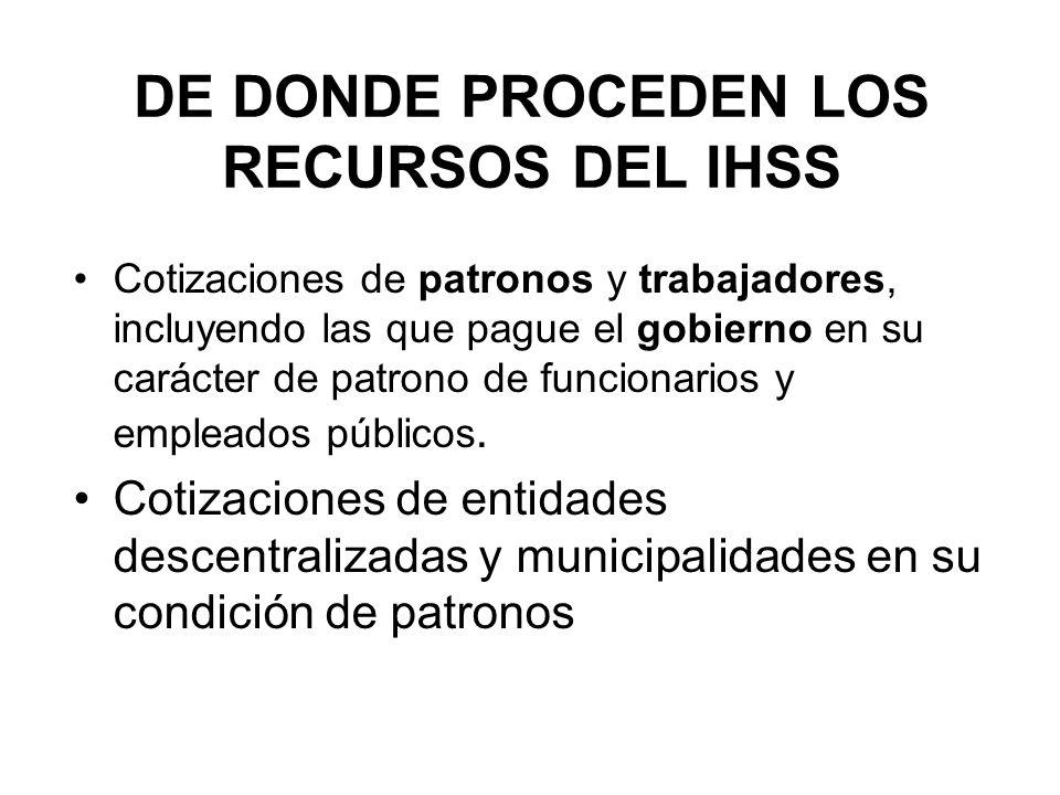 DE DONDE PROCEDEN LOS RECURSOS DEL IHSS