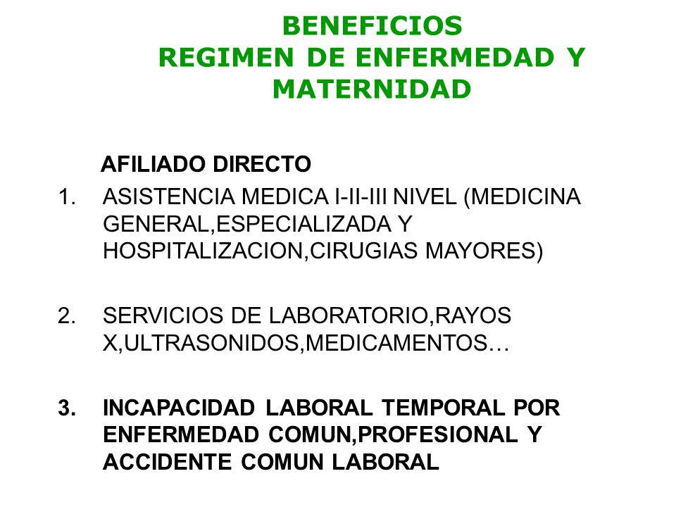 BENEFICIOS REGIMEN DE ENFERMEDAD Y MATERNIDAD