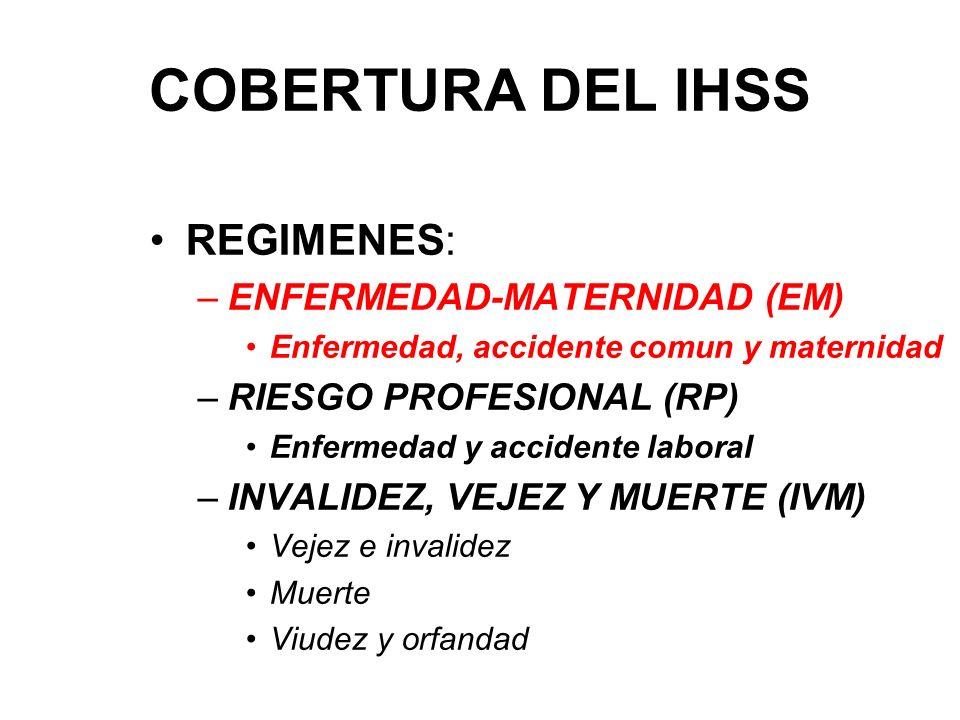 COBERTURA DEL IHSS REGIMENES: ENFERMEDAD-MATERNIDAD (EM)