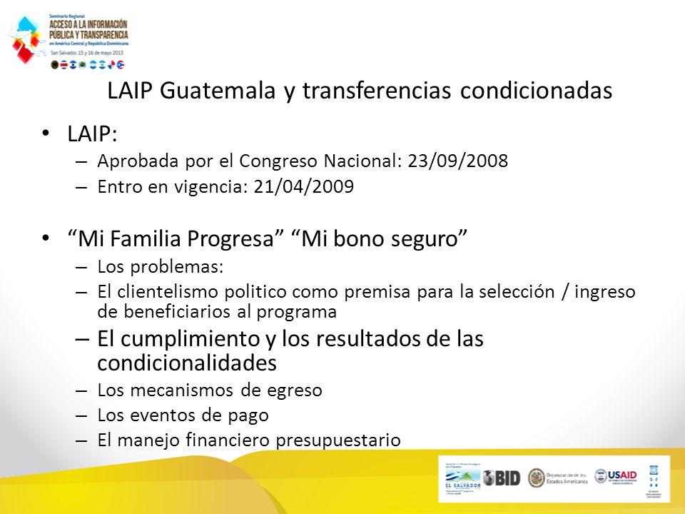 LAIP Guatemala y transferencias condicionadas