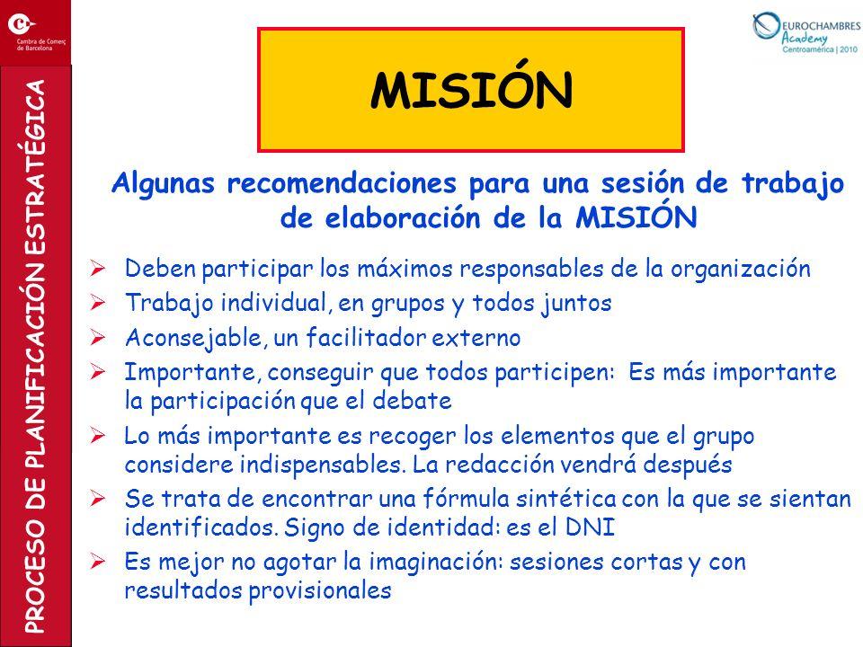 MISIÓN Algunas recomendaciones para una sesión de trabajo de elaboración de la MISIÓN. Deben participar los máximos responsables de la organización.