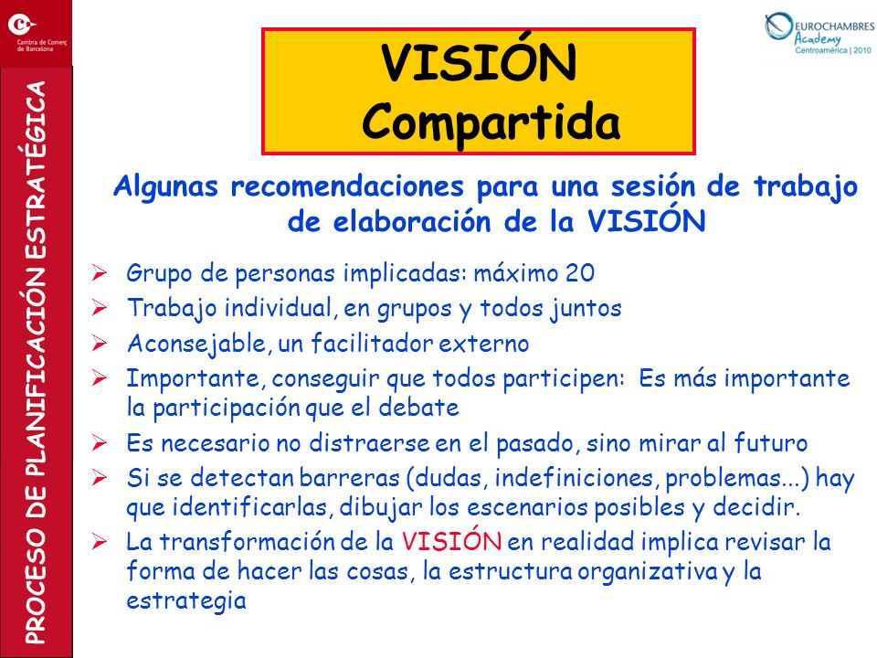 VISIÓN Compartida. Algunas recomendaciones para una sesión de trabajo de elaboración de la VISIÓN.