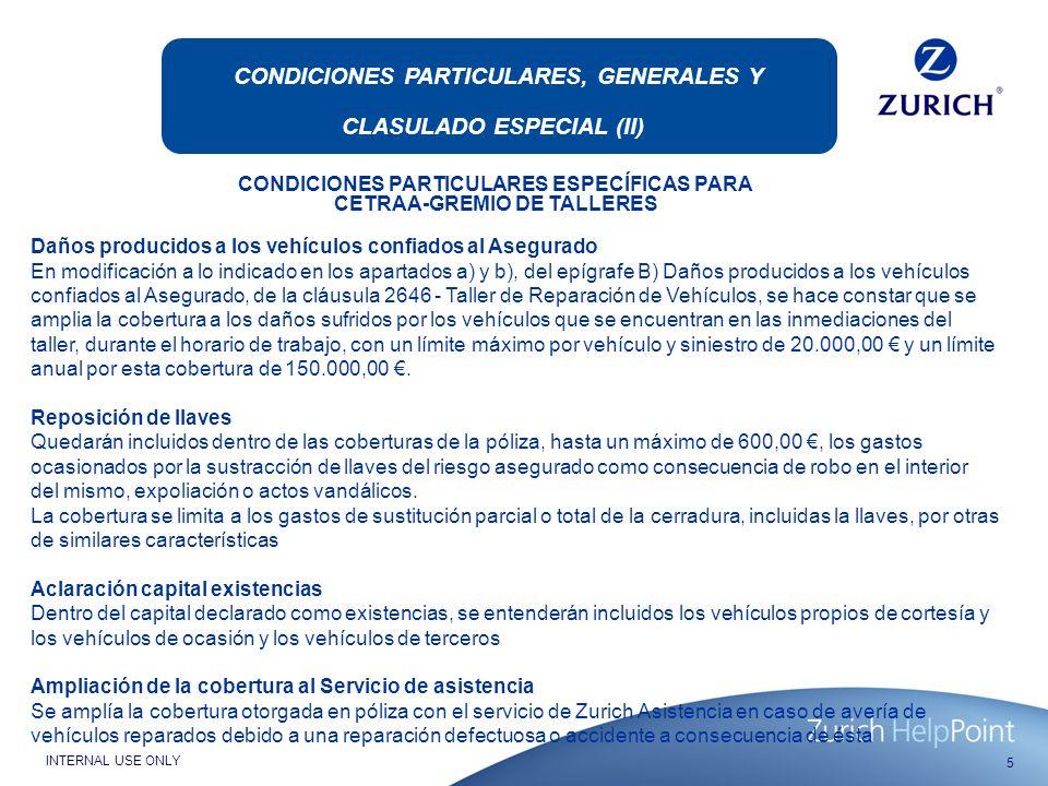 CONDICIONES PARTICULARES, GENERALES Y CLASULADO ESPECIAL (II)