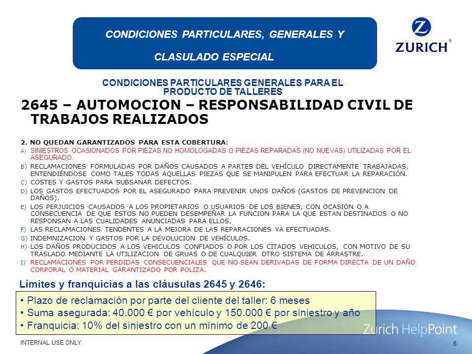 2645 – AUTOMOCION – RESPONSABILIDAD CIVIL DE TRABAJOS REALIZADOS