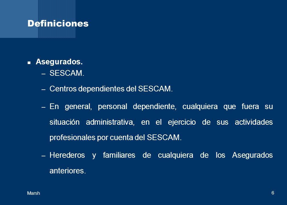 Definiciones Asegurados. SESCAM. Centros dependientes del SESCAM.