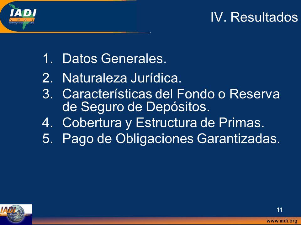IV. Resultados Datos Generales. Naturaleza Jurídica. Características del Fondo o Reserva de Seguro de Depósitos.