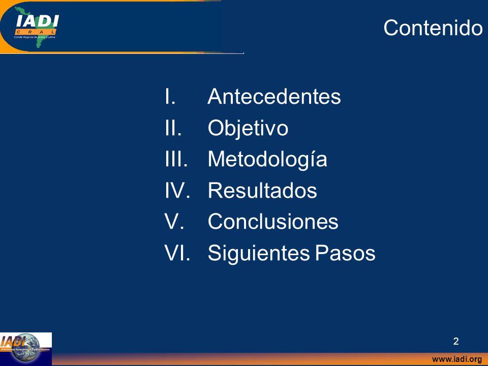 Contenido Antecedentes Objetivo Metodología Resultados Conclusiones Siguientes Pasos
