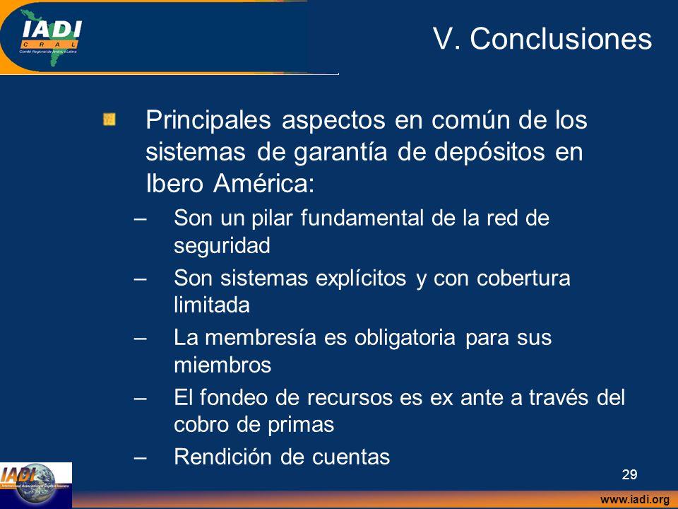 V. Conclusiones Principales aspectos en común de los sistemas de garantía de depósitos en Ibero América: